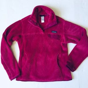 Patagonia Snap T Fuzzy Pullover Dark Pink Sz M